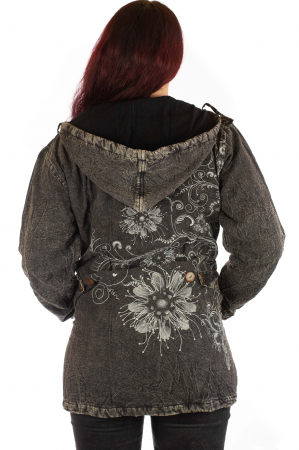 Jacheta de toamna cu print floral - Gri2