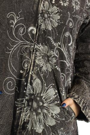 Jacheta de toamna cu print floral - Gri3