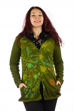 Jacheta din bumbac cu print floral - Verde inchis SHJKT010