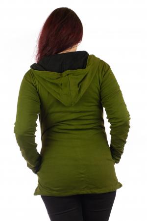 Jacheta din bumbac cu print floral - Verde inchis SHJKT014