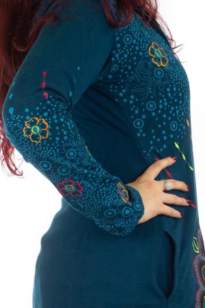 Jacheta de toamna cu print floral - Albastra JKT065