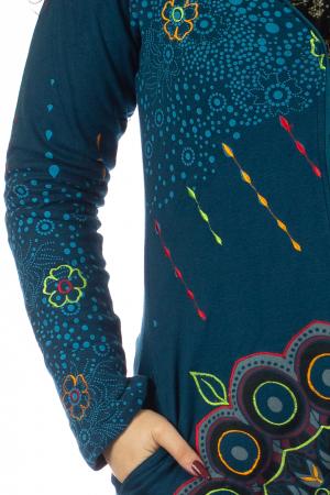 Jacheta de toamna cu print floral - Albastra JKT063