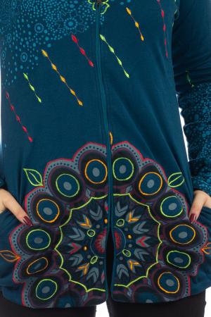 Jacheta de toamna cu print floral - Albastra JKT062