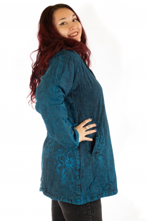 Jacheta de toamna cu print floral - Turcoaz1