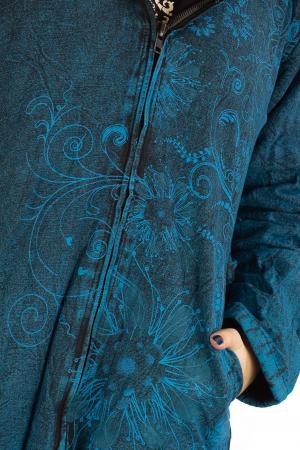 Jacheta de toamna cu print floral - Turcoaz5