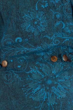 Jacheta de toamna cu print floral - Turcoaz6