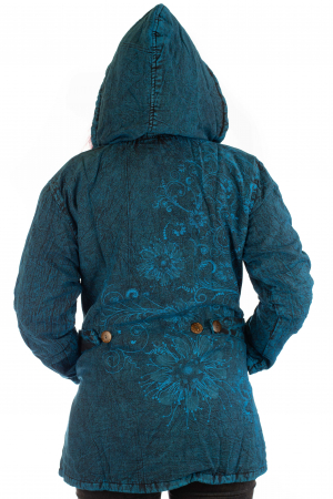 Jacheta de toamna cu print floral - Turcoaz3