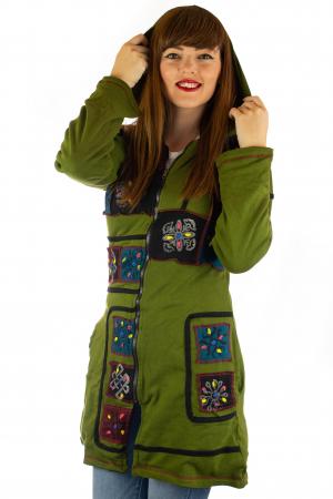Jacheta de toamna cu print manual - Verde [4]