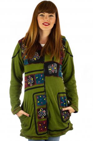 Jacheta de toamna cu print manual - Verde [0]