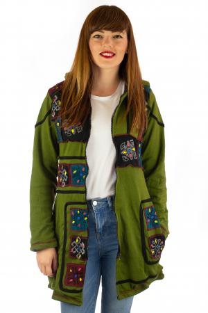 Jacheta de toamna cu print manual - Verde [1]