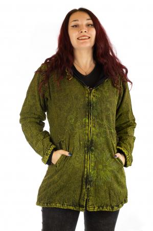 Jacheta de toamna cu print floral - Verde0