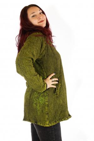 Jacheta de toamna cu print floral - Verde1