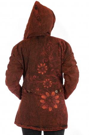 Jacheta de toamna cu print floral - Rosu4