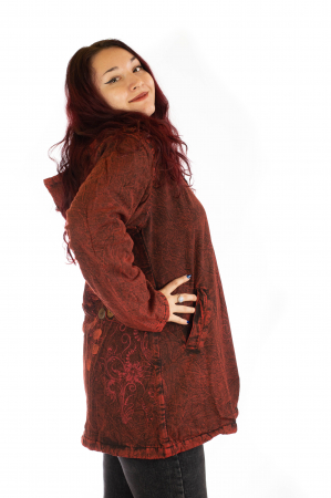 Jacheta de toamna cu print floral - Rosu2