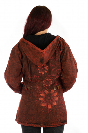 Jacheta de toamna cu print floral - Rosu3