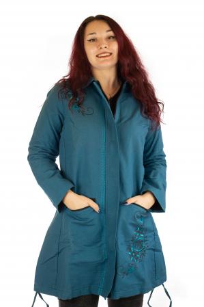 Jacheta de toamna cu broderie - Albastru0