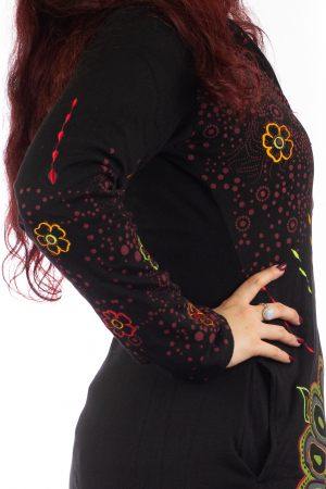 Jacheta de toamna cu print floral - Negru JKT064