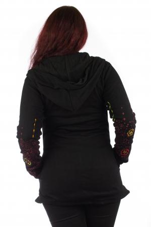 Jacheta de toamna cu print floral - Negru JKT065