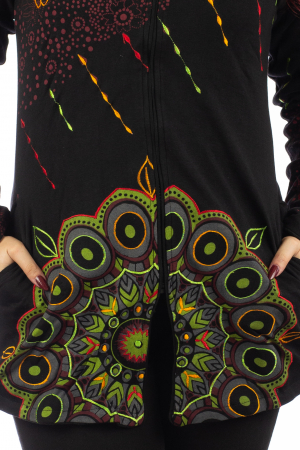 Jacheta de toamna cu print floral - Negru JKT062