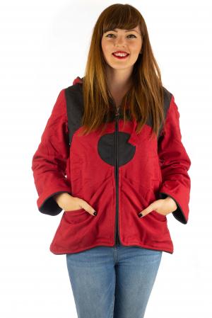 Jacheta in colturi din bumbac - Black & Red0