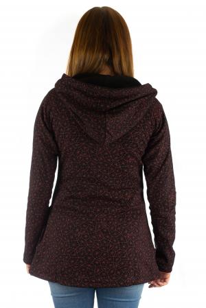 Jacheta de toamna cu print si broderie - Visiniu JKT053
