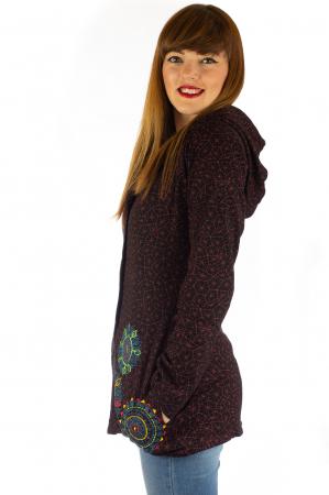 Jacheta de toamna cu print si broderie - Visiniu JKT051