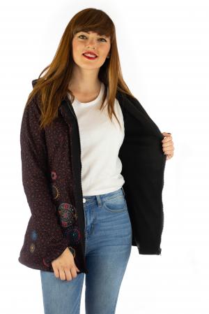 Jacheta de toamna cu print si broderie - Visiniu JKT054