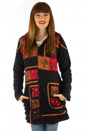 Jacheta de toamna cu print manual - Negru [0]
