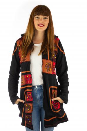 Jacheta de toamna cu print manual - Negru [2]