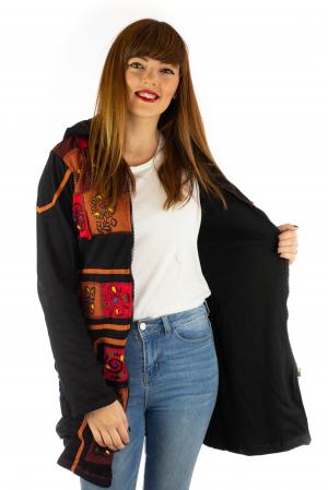 Jacheta de toamna cu print manual - Negru [3]