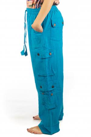 Pantaloni din bumbac cu buzunare - Albastru3