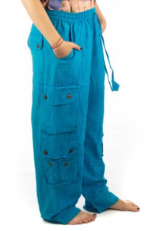 Pantaloni din bumbac cu buzunare - Albastru5