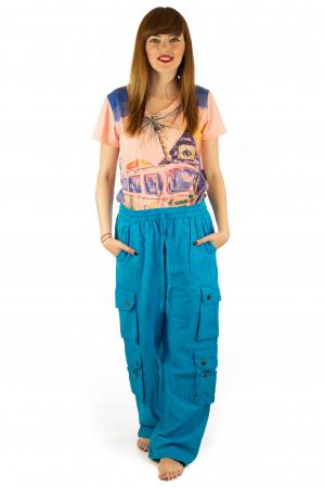Pantaloni din bumbac cu buzunare - Albastru1