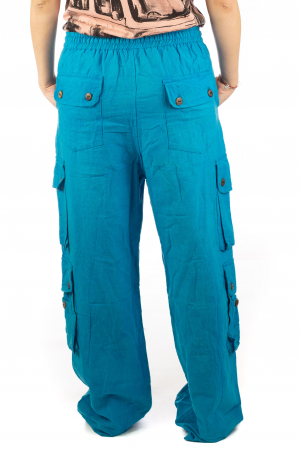 Pantaloni din bumbac cu buzunare - Albastru7