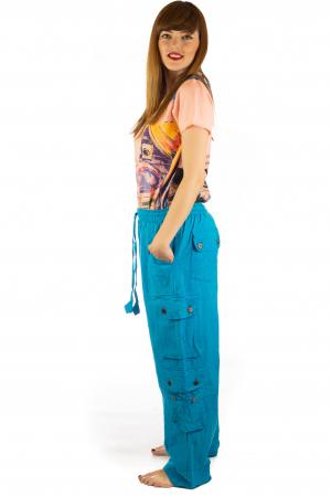 Pantaloni din bumbac cu buzunare - Albastru2