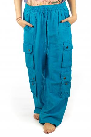 Pantaloni din bumbac cu buzunare - Albastru0