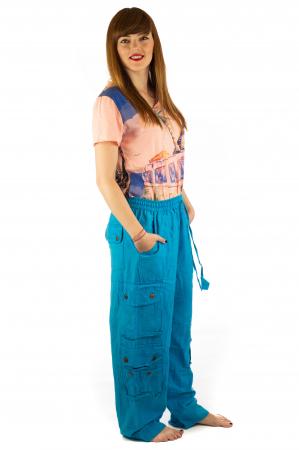 Pantaloni din bumbac cu buzunare - Albastru4