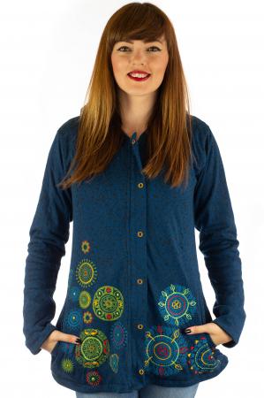 Jacheta din bumbac cu print si broderie - Bleumarin JKT050