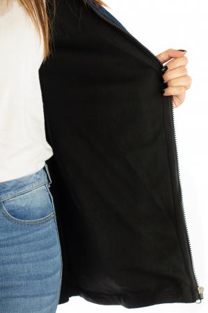 Jacheta din bumbac cu print si broderie - Bleumarin JKT057