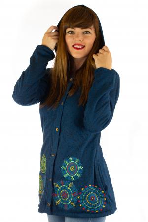 Jacheta din bumbac cu print si broderie - Bleumarin JKT054