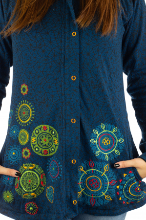 Jacheta din bumbac cu print si broderie - Bleumarin JKT051