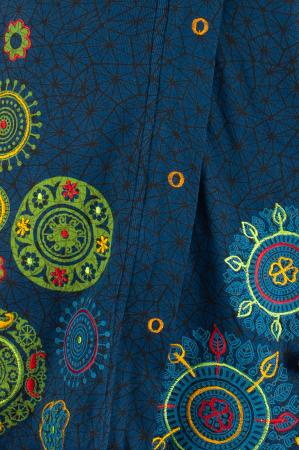Jacheta din bumbac cu print si broderie - Bleumarin JKT052