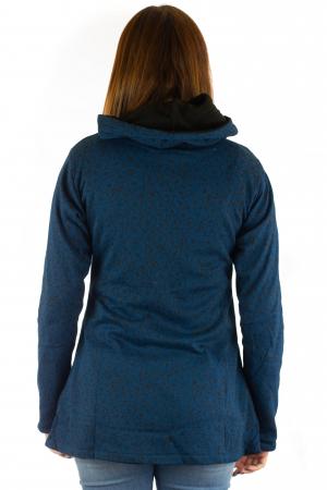 Jacheta din bumbac cu print si broderie - Bleumarin JKT055