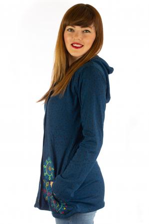 Jacheta din bumbac cu print si broderie - Bleumarin JKT053