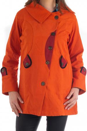 Jacheta de toamna cu nasturi - Portocalie [0]