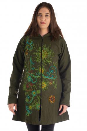 Jacheta din bumbac lung cu print floral - Verde inchis SHJKT011