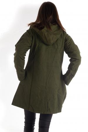 Jacheta din bumbac lung cu print floral - Verde inchis SHJKT012