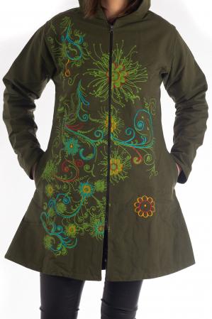 Jacheta din bumbac lung cu print floral - Verde inchis SHJKT010
