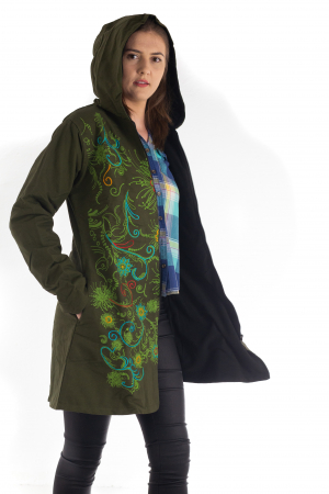 Jacheta din bumbac lung cu print floral - Verde inchis SHJKT013