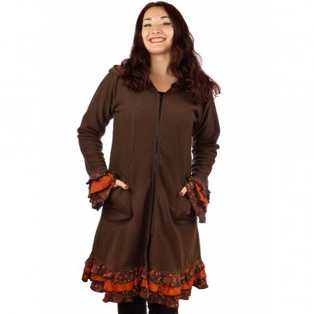 Jacheta femei - Marime M - Maro cu portocaliu0